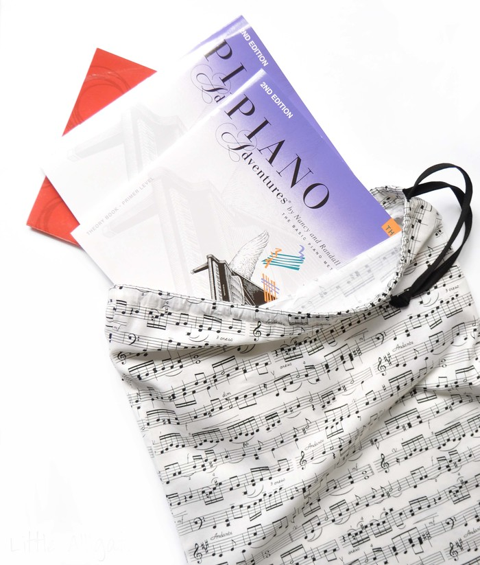 Music Book Bag or Library Bag  Musical Notes  Piano Book Bag