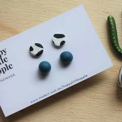 EARRING DUET Dalmation stud and Gumball in Petrol