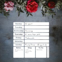 Weekly Planner Dry Erase Vinyl Decal