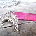 Silver Moon and Pink Aura Quartz Necklace