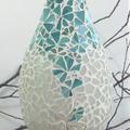 Seaglass and Art glass vase.. colours of the sea
