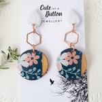 Floral Dangle - Navy/Rose Gold