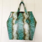 Leather snake skin Bag with ostrich leather feature