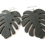 Large Lightweight Black Monstera Wooden Leaf Earrings