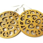 Lightweight Caramel Brown Wooden Filigree Disc Dangle Hippie Boho Earrings