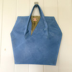 Blue Leather Bag with eco dyed leather feature