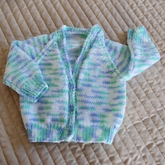 3-9mths - Hand knitted cardigan in Cram & multi colours: boy, washable, OOAK