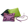 Trio of cedar sachets in purple tones. Reclaimed silk from mens ties