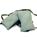 Trio of cedar sachets in green.  Upcycled from mens silk ties