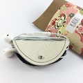 Leather and kimono fabric headphones cord wrap cable tidy - cream and blue