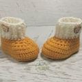 Mustard & Cream Newborn Crochet Baby Booties Shoes Socks Pregnancy Baby Reveal