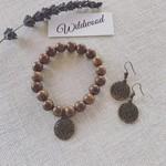Tree of Life Wooden Bracelet & Earrings Set