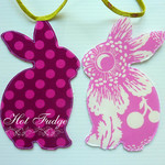 Bunny Garland, Easter, Baby Shower, double sided fabric, green ties