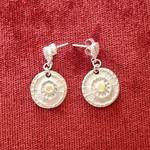 Recycled and 'one-off' Silver Earrings with yellow gems
