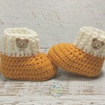 Mustard & Cream Newborn Crochet Baby Booties Shoes Socks Pregnancy Baby Reveal