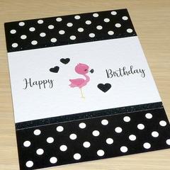 Girls Happy Birthday card - flamingo