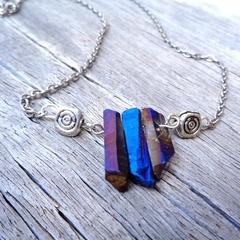 Titanium Aura Quartz Necklace, Gemstone Necklace, Blue and Purple Gemstones
