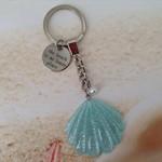 Blue Glitter Resin Seashell Stamped Disc Pearl Bead Beach Keyring Key Chain
