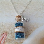 Beach Mermaid Tears Beads Bottle Silver Plated Charm Chain Necklace