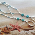 Beach Barefoot Elastic  Sandles x 2 pcs Turquoise White Seed Beads Anklet