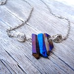 Titanium Aura Quartz Necklace, Gemstone Necklace, Blue and Purple Gemstones