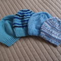 *Grow Set Special * 4 beanies (New born to 3 yrs +): Boy, washable