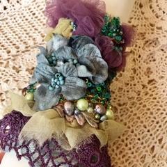 Flower cuff bracelet, Bohemian beaded bracelet