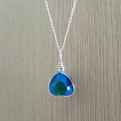 sterling silver wire wrapped glass pendant handmade - blue pudding