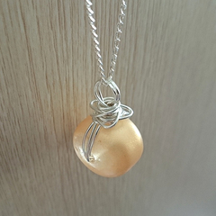 sterling silver wire wrapped glass pendant handmade - golda