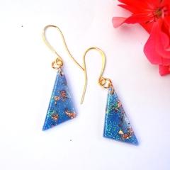 Resin Earrings, Handmade  Blue Sparkly  Triangle Dangles
