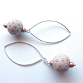 Spot blue and cream dangle earrings