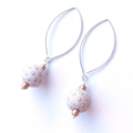 Spot blue and cream dangle earrings