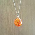 sterling silver wire wrapped glass pendant handmade - tammi tangerine