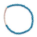 Rose gold twist tube blue faceted glass bead bracelet