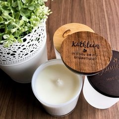 Personalised Engraved Wooden Lid Wedding Scented Candles in a Medium Tumbler