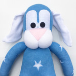 'Bailey' the Sock Bunny - blue with white stars - *READY TO POST*