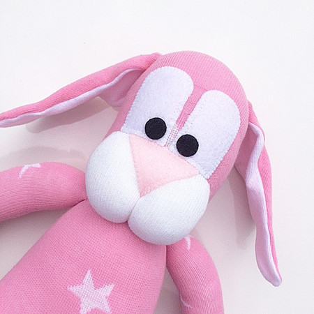 'Betty' the Sock Bunny - pink with white stars - *READY TO POST*