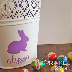 Personalised Easter Vinyl Label with Name - choose your design & colour