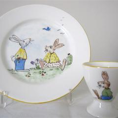 Hand painted Royal Doulton Rabbits plate and Rabbits egg cup