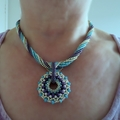 Beaded Pendant and Rope Necklace