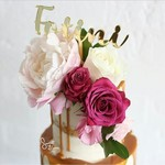 Personalise Cut and Engraved Gold Mirror Acrylic Name Cake Topper