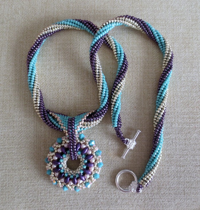 Beaded pendant and rope necklace bowerbirdbeads madeit beaded pendant and rope necklace aloadofball Images