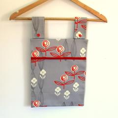 Laundry Fun Peg Bag -  Orange & White Flowers on Grey