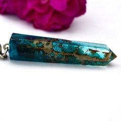Resin Crystal Pendant Blue Leaf Skeleton, Nature Necklace Handmade BlackwoodLily