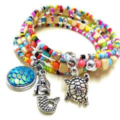Colourful Nautical Beaded Bracelet, Mermaid Bracelet, Turtle Bracelet, Ocean,Sea