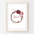 Printable Personalized Wall Art. Watercolour wreath personalised with name