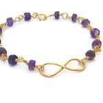 Gold infinity bracelet, amethyst birthstone bracelet