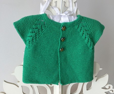 3 - 6 mths Baby Vest Cardi, Green, Cotton, Hand Knit