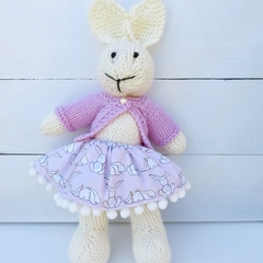 Ellie the Knitted Bunny Rabbit Toy with Bunny Party Skirt with Pink Jacket