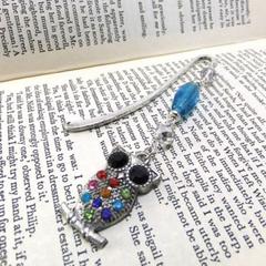 Rhinestone Owl Bookmark, Beaded Bookmark, Bird Bookmark, Students Teachers